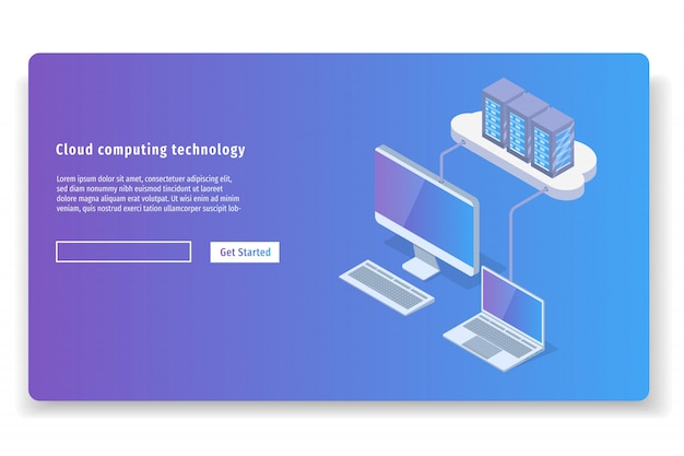 Cloud computing-technologie 3d isometrische concept. vector illustratie.
