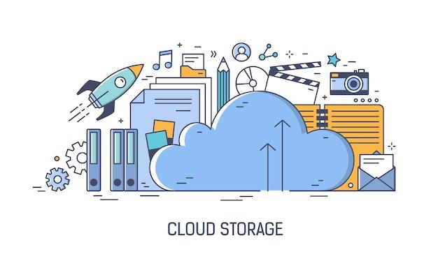 Cloud computing-technologie, applicatie voor informatieopslag, overdracht van digitale gegevens, downloaden en uploaden van bestanden
