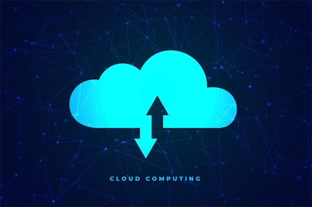 Cloud computing-technologie concept gegevensoverdracht
