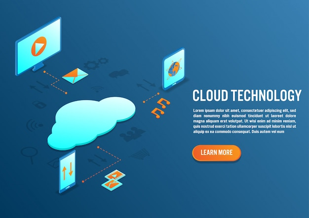 Cloud computing-technologie in isometrisch ontwerp