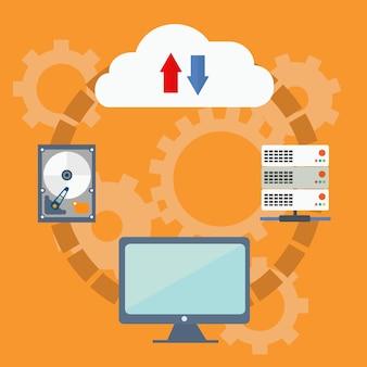 Cloud computing-technologie vectorconcept