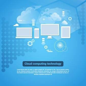 Cloud computing technology template webbanner met kopie ruimte