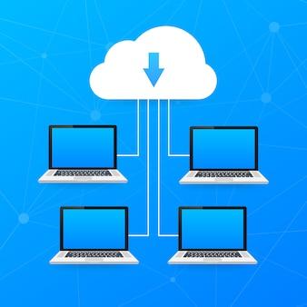 Cloud computing . verschillende apparaten zoals smartphone, laptop zijn verbonden met cloud. illustratie
