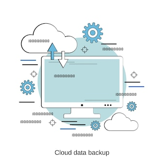 Cloud data back-up platte ontwerp stijl vector concept illustratie