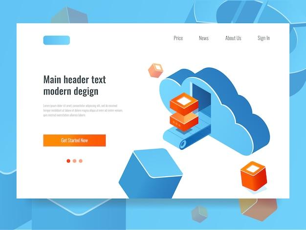 Cloud data-opslag, externe serverruimte, cloud met lopende band en gegevensblok