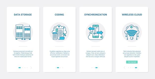 Cloud data-opslag overdracht synchronisatie service ux ui onboarding mobiele app pagina scherm set