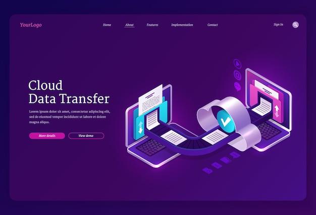 Cloud data transfer banner online technologieën voor uitwisseling van bestanden en documenten tussen computers digitaal archief en database landingspagina