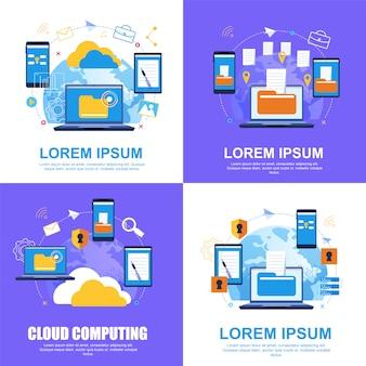 Cloud dienstverlening. bestandsoverdracht. cloud computing.