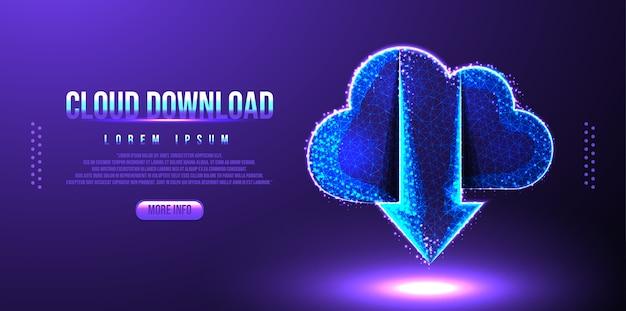 Cloud download laag poly draadframe