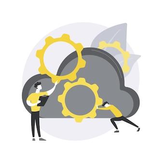 Cloud engineering. cloudgebaseerd computergebruik, gehoste gegevensopslag, gecertificeerde professionele ingenieur, cloud-native softwareontwikkeling. Premium Vector