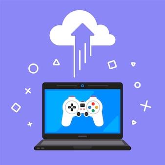 Cloud gaming. online spel om te verwijderen. illustratie