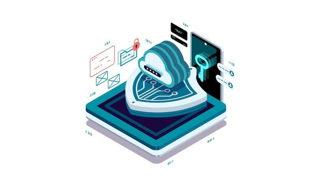 Cloud gegevensbescherming. veilige toegang tot gegevens in de cloud.