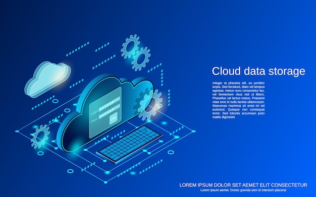 Cloud gegevensopslag platte isometrische concept illustratie