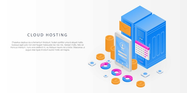 Cloud hosting concept banner, isometrische stijl