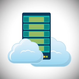 Cloud hosting datacenter pictogram