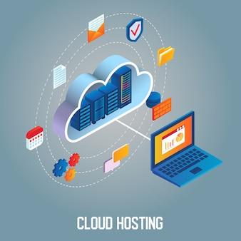 Cloud hosting isometrisch