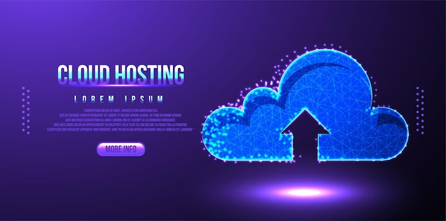 Cloud hosting upload low poly wireframe mesh