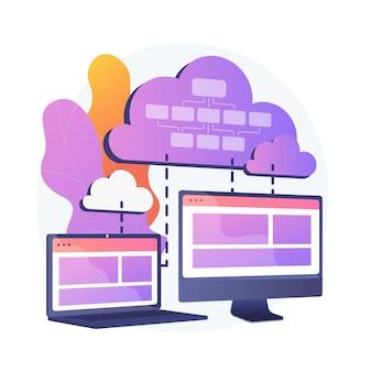 Cloud informatie-opslag. op collocatie cloud computing. gegevenssynchronisatie en harmonisatie. beschikbaar, toegankelijk, digitaal. verbonden back-up. vector geïsoleerde concept metafoor illustratie