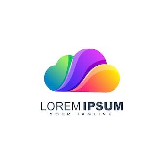 Cloud kleurrijke logo ontwerpsjabloon gradiënt vloeistof