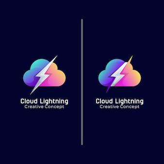 Cloud lightning creatief logo concept gradiënt kleurrijk