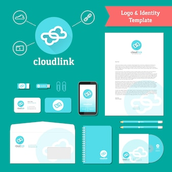 Cloud link-logo en identiteitssjabloon