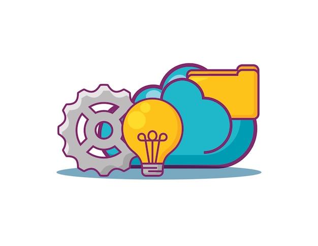 Cloud met big data-gerelateerde pictogrammen