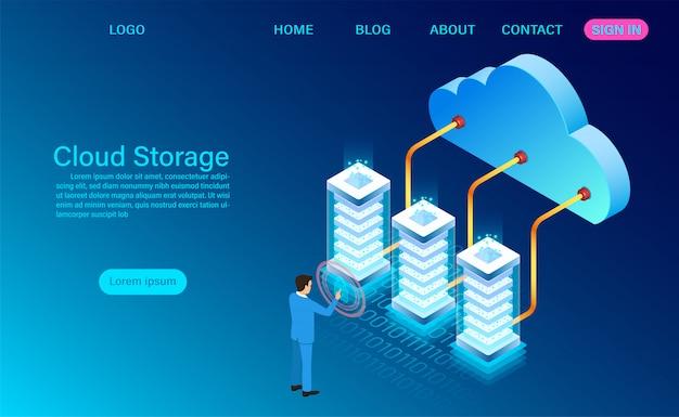 Cloud opslagtechnologie en netwerk bestemmingspagina sjabloon