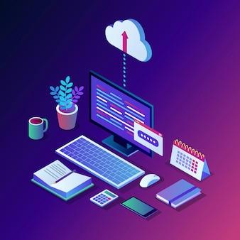 Cloud opslagtechnologie. reservekopie van gegevens. isometrische computer, pc met mobiele telefoon op achtergrond. hostingservice voor website.
