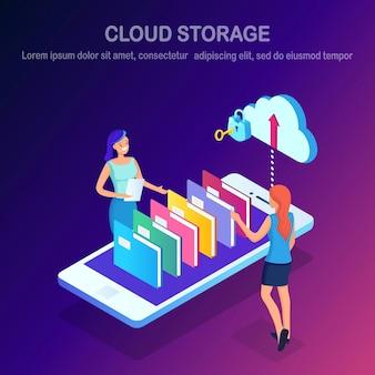 Cloud opslagtechnologie. reservekopie van gegevens. isometrische vrouw, telefoon, mappen. hostingservice voor website