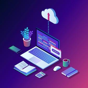 Cloud opslagtechnologie. reservekopie van gegevens.