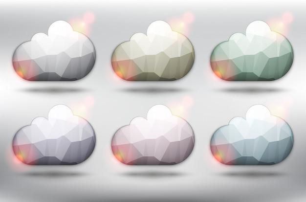 Cloud pictogrammen. bubble ballonnen offerte. geïsoleerd op de witte achtergrond.