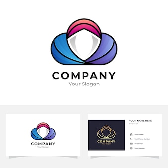 Cloud schild logo en visitekaartje ontwerp