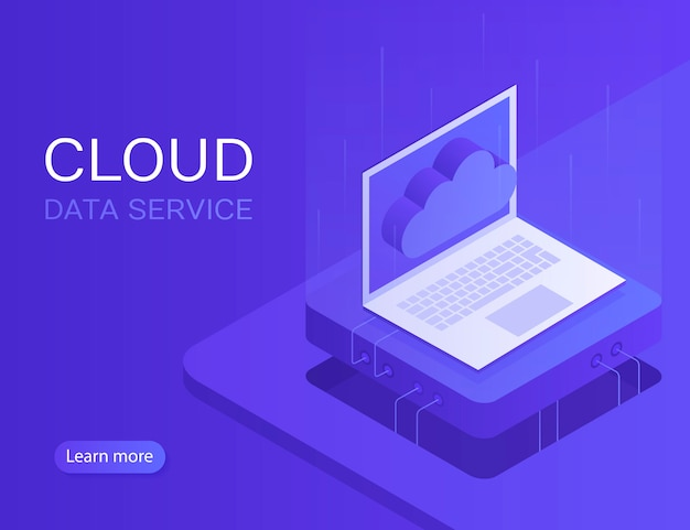 Cloud server banner, laptop met cloud pictogram. moderne illustratie in isometrische stijl
