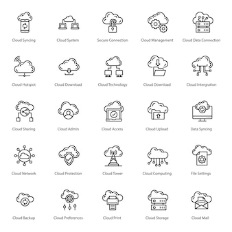 Cloud server line icons pack