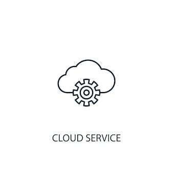 Cloud service concept lijn pictogram. eenvoudige elementenillustratie. cloud service concept schets symbool ontwerp. kan worden gebruikt voor web- en mobiele ui/ux