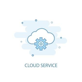 Cloud service lijn concept. eenvoudig lijnpictogram, gekleurde illustratie. cloud service symbool plat ontwerp. kan worden gebruikt voor ui/ux