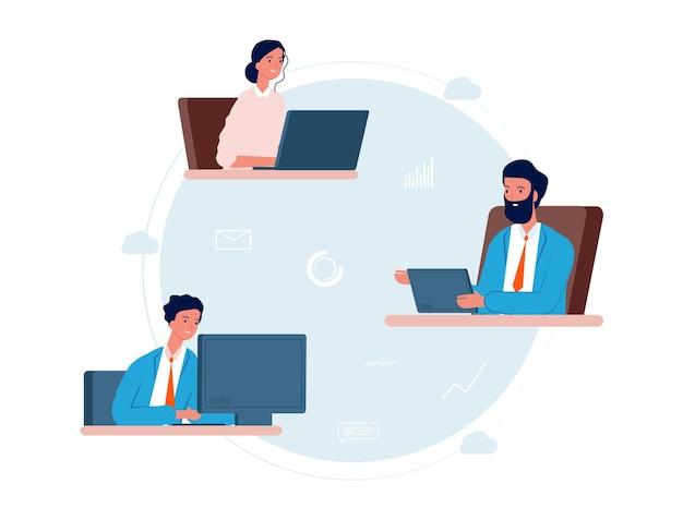 Cloud service. mensen werken op afstand, online business team.