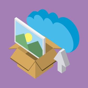 Cloud storage box met fotopijl upload data