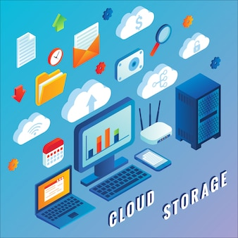 Cloud storage flat isometric
