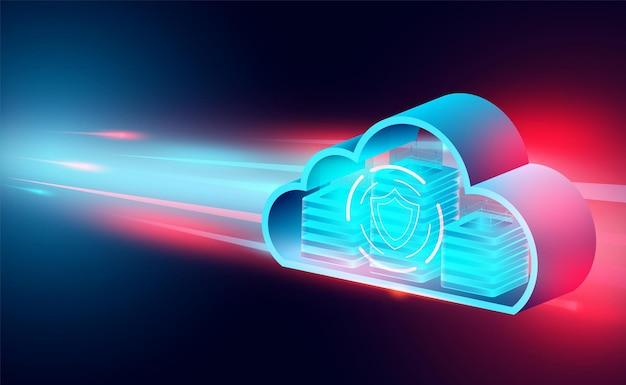 Cloud technologie concept online computertechnologie big data flow processing concept isometrisch