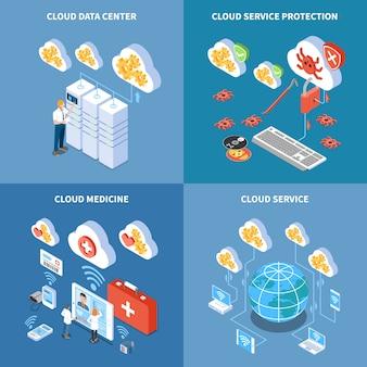 Cloud technologie data center met beveiligingssysteem opslag van geneeskunde informatie isometrische concept geïsoleerd