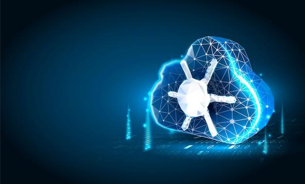 Cloud technologie laag poly kunst illustratie