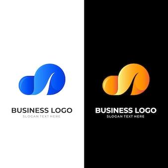 Cloud wave-logo, cloud en wave, combinatielogo met 3d-blauwe en gele kleurstijl