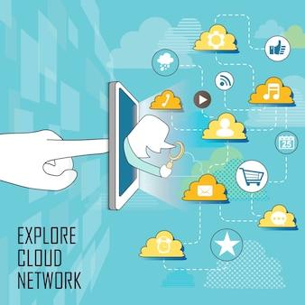 Cloudnetwerkconcept: apps vliegen uit een tablet in lijnstijl