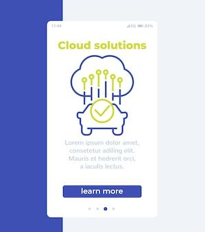 Cloudoplossingen voor transportbanner met lijnpictogram