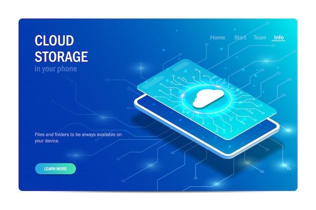 Cloudopslag in uw telefoon. gloeiend wolkenpictogram op het smartphonescherm