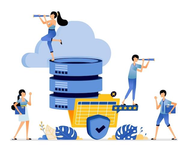 Cloudopslag verbonden met het databasesysteem met het beste en veiligste niveau van tevredenheid