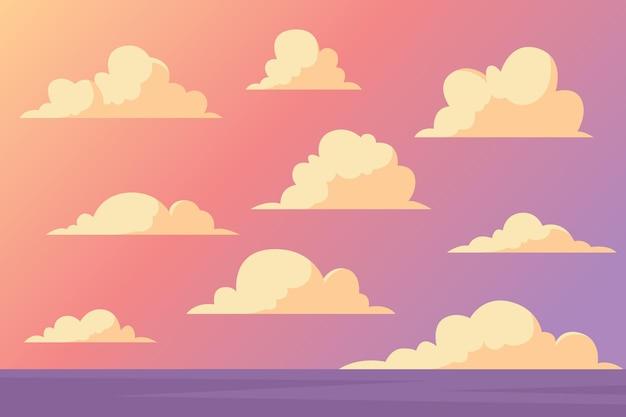 Cloudpakket met plat ontwerp