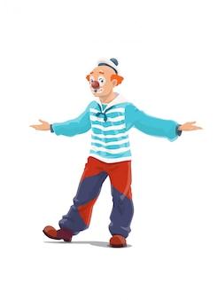 Clown, big top circus shapito clown, kermis carnaval stripfiguur. retro circusclown met grote bovenkant in rode pruik en zeemanshoed, grote laarzen en wijde broek, lachmasker en rode neus