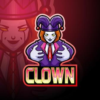 Clown e sport logo mascotte ontwerp